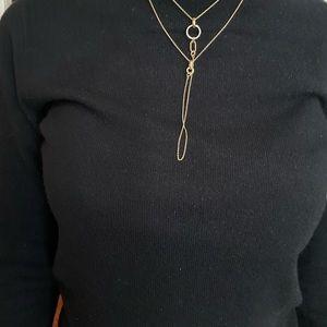 Rebecca Minkoff Y Crystal Gold Neckline NWT $58
